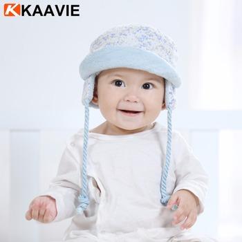 Custom winter warm neck cover ear flap fleece lined floral flower cotton newborn  baby hat 2ddc93112b9