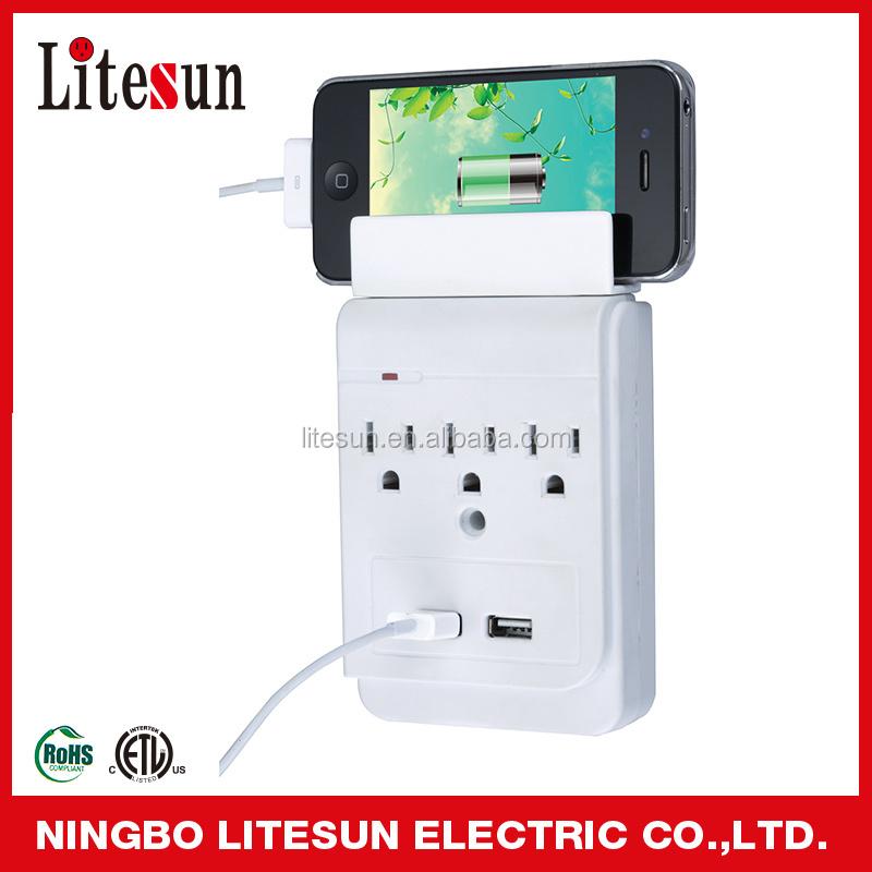 Ul Etl Litesun 3 Outlet Current Tap With 2 Usb Port Surge Protector ...