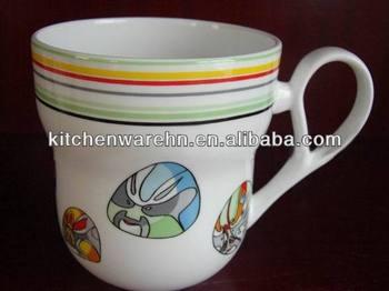 Haonai Ceramic Funny Shaped Coffee Mug Unqiue Handle Mug