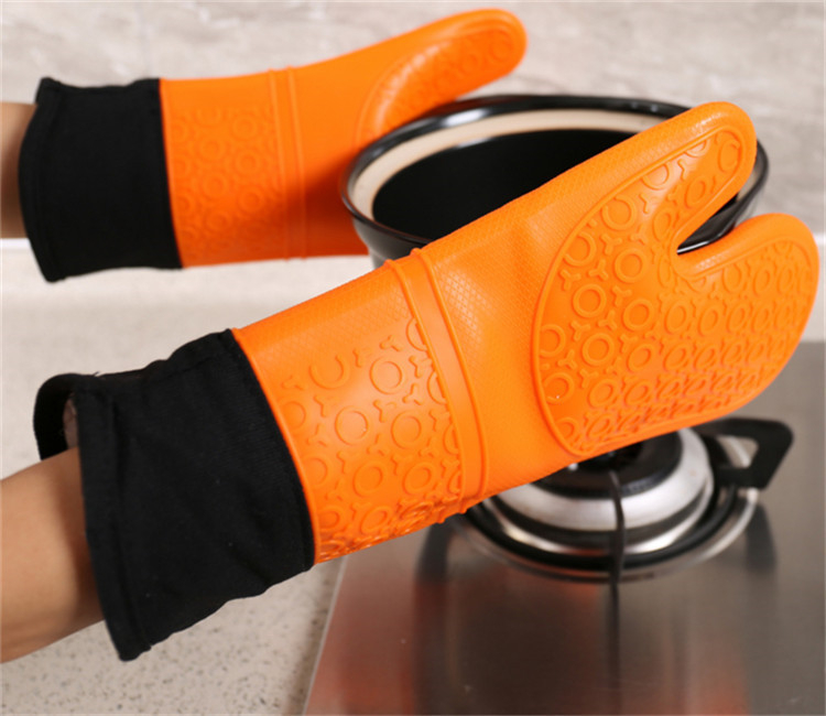 rubber warm cotton lining silicone kitchen cooking oven mitts gripping oven glove