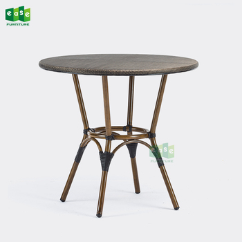 Restaurant furniture aluminum bamboo look outdoor french bistro table (E9005NEW)
