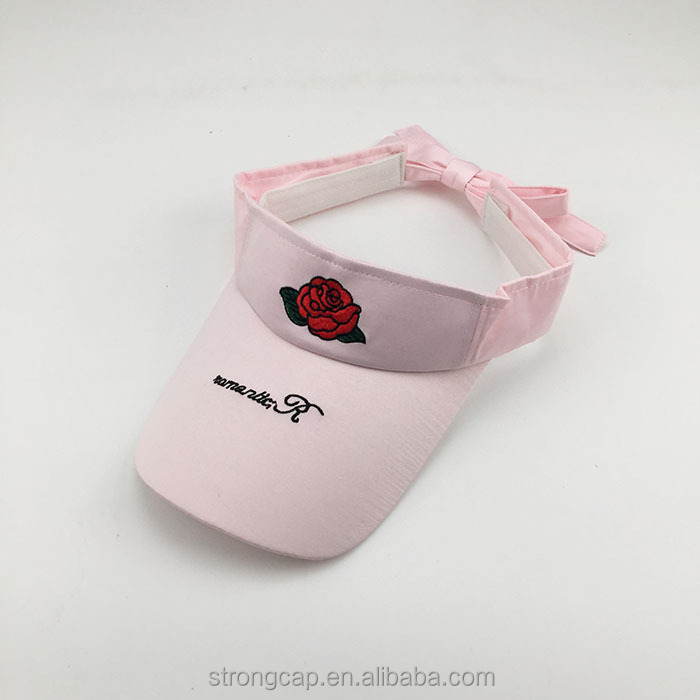 Summer satin roses embroidered girl top empty hats student sun visor caps