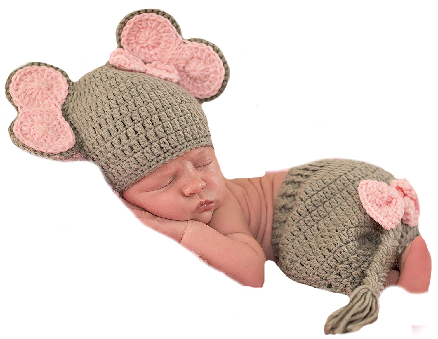 Melondipity's Baby Girl Elephant Hat and Short Set for Newborn Girls