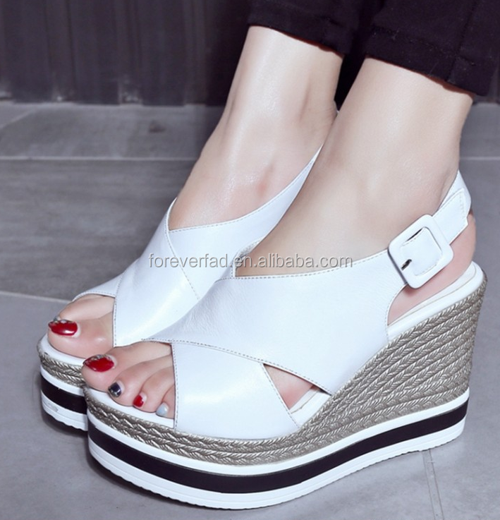 kid suede and cow nappa upper for latest design women high heel wedge sandals