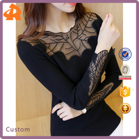 2017 New Arrival Leaf Shape Lace Round Neck and Cuff Elegant Woman Blouse