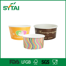 Colorful double PE coated 500ml cup ice cream with lids