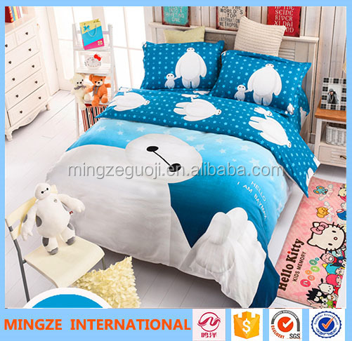 3d reactive printed kids cartoon bedding set 100% cotton king size childrens bed sets luxury wedding latest design