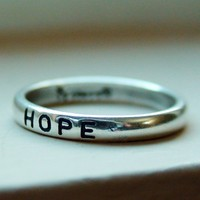 Cute Petite Ring 925 Silver Hope Engraved Stacking Ring
