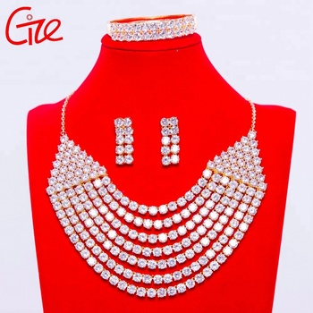 african luxury big jewelry seven row 3pcs set perfect designs for women wedding big copper jewelry set