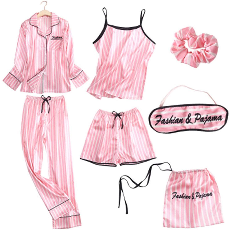 f86afd0339 Get Quotations · Spring Summer Pyjamas Women Home Wear Pijama Charming Faux  Silk Floral 7 Pieces Pajama Set Woman