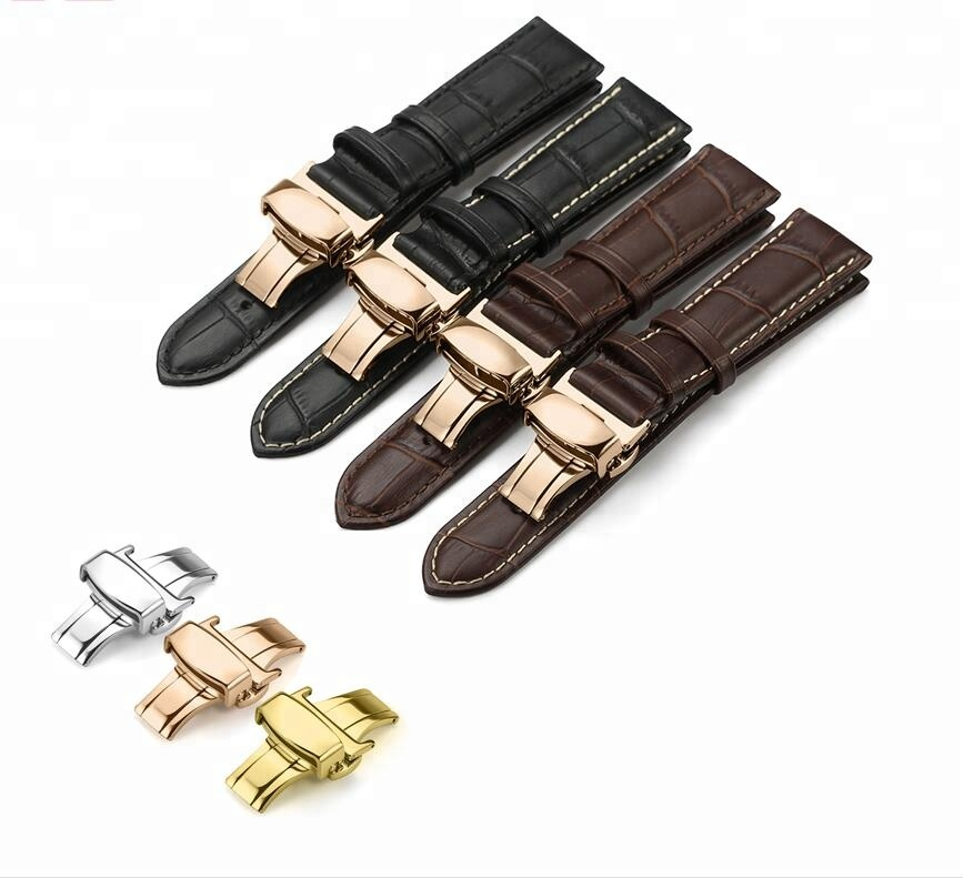 12 13 14 15 16 18 20 22 24mm Watch Band Deployment Butterfly Clasp Watch Strap Genuine Cow Leather Watchbands, Black black/white brown brown/white
