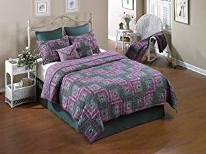 Donna Sharp Melanie Log Cabin Hand Quilted Cotton Throw or Wallhanging