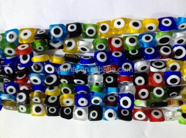 glass lampwork beads square evil eye beads