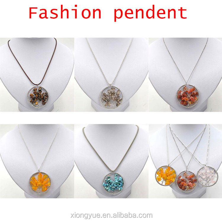 Fashion Style Natural Stone Druzy Connector Pendant Necklace Jewelry