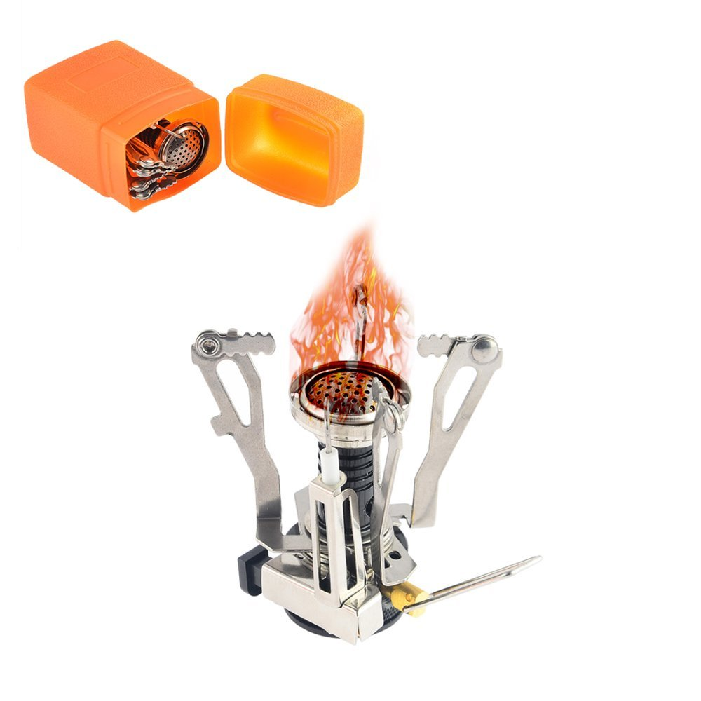 3000W Camping Stove , Portable Titanium Alloy W Piezo Ignition Gear Mini Gas Stove For Butane Canisters , Ultralight Windproof And Collapsible Camp Burner For Outdoor Backpacking Pocket Size , With Ca