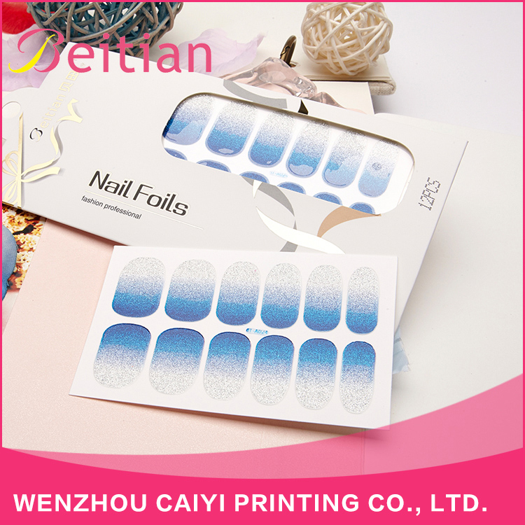 Beitian New Arrival Customized Waterproof Blue Glitter Series Nail Sticker Nail Wraps