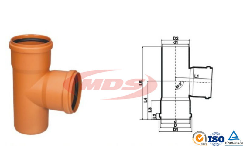 orange pvc pipe and fittings with rubber ring