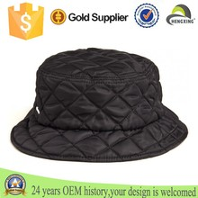 Custom cheap black Wall quilted nylon Bucket Hat