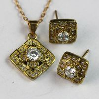 Hot Popular African Jewelry Sets Dubai 18K Gold Plated White Zircon for Jewelry Party