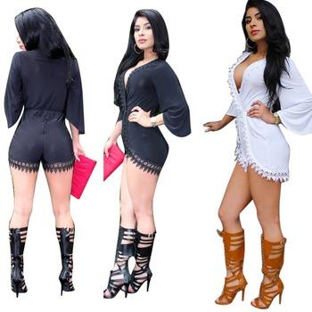 d0f9eca5f F20426a Newest Style Ladies Suits Deep V Neck Short Pants Lace ...