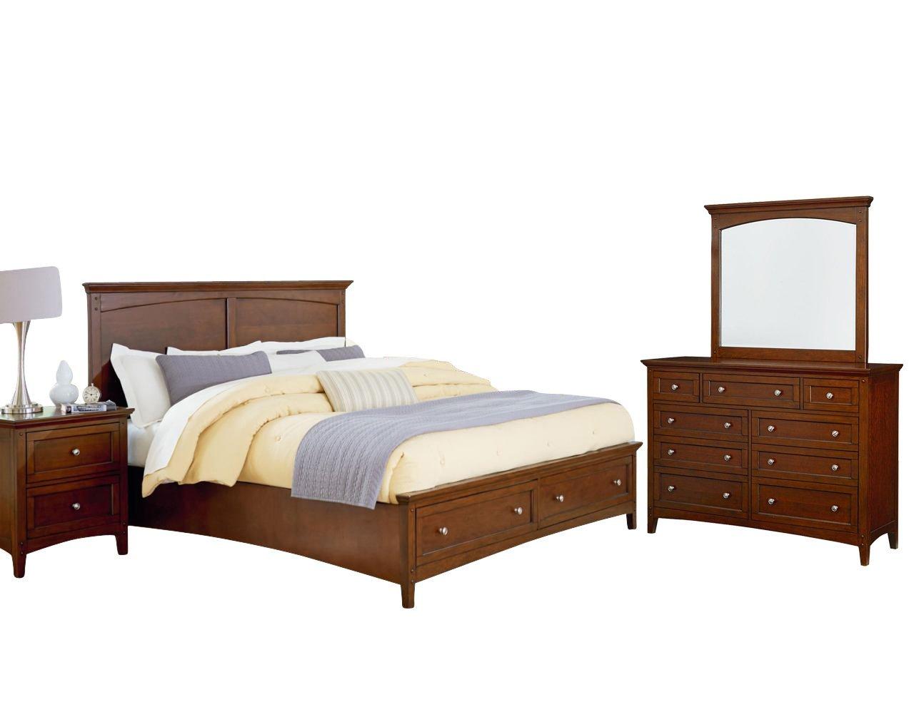Standard Cooperstown Bedroom Set with Bed, Nightstand, Dresser and Mirror