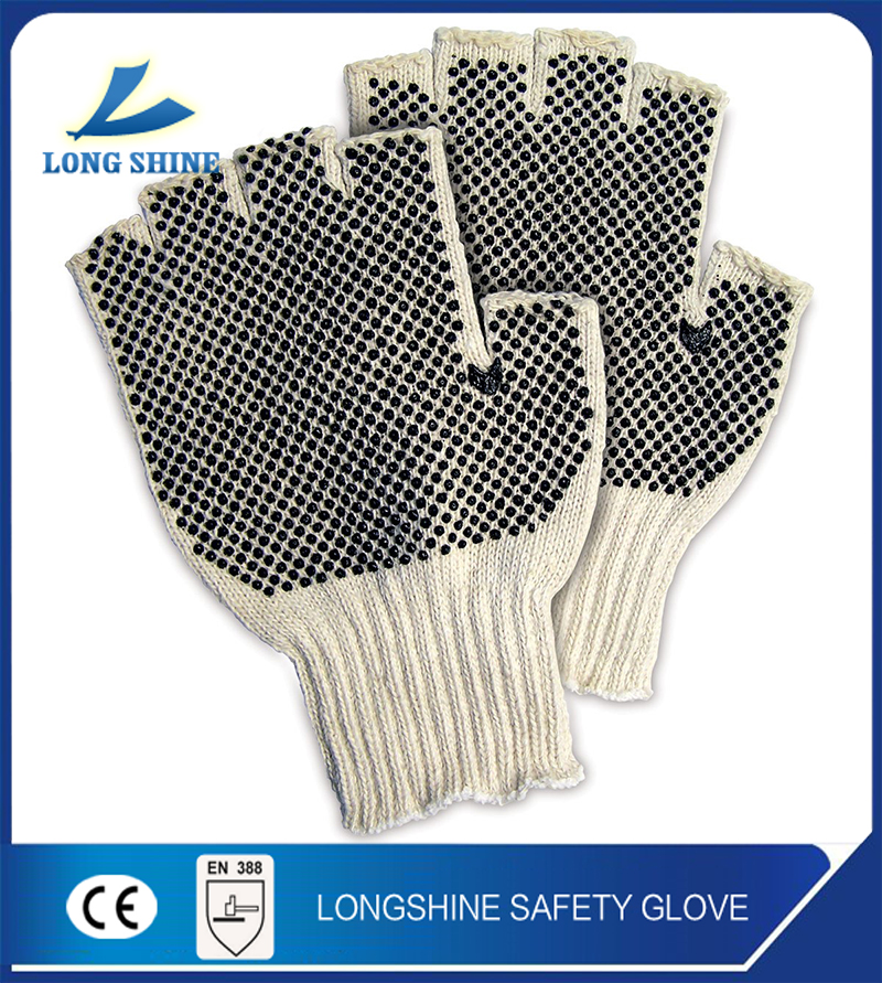 High quality 10G knitted cotton liner pvc dotted Cut Resistant Fingerless Gloves