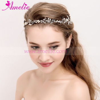 Vine Headband Wedding Bridal Headpiece Gold Pearl Bridal Floral Hair Accessories Crystal Weddings Beaded Tiara Prom Jewelllery