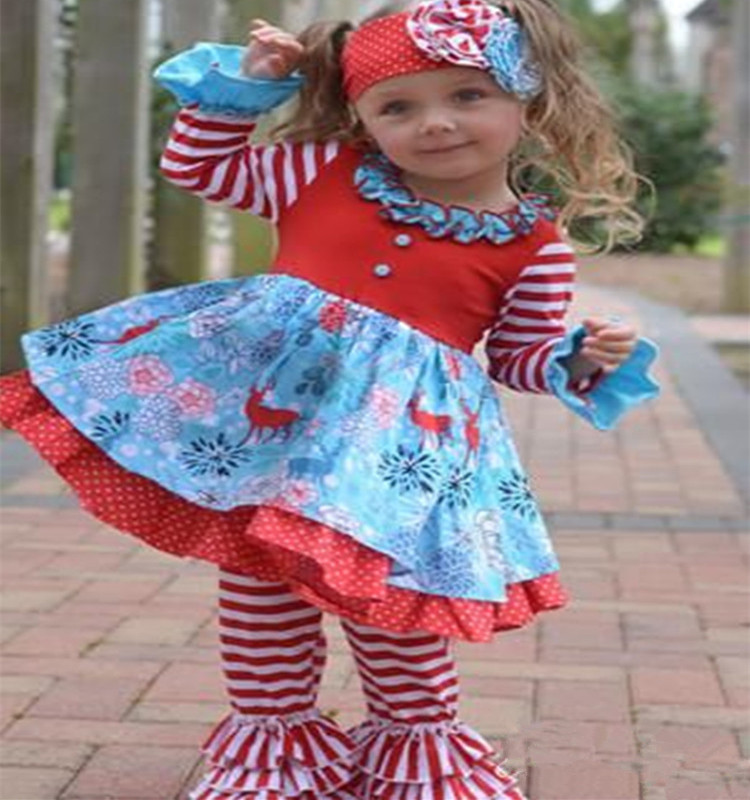 New Winter Clothing Sets For Kids Girl Boutique Clothing Christmas Children's Cotton Outfit
