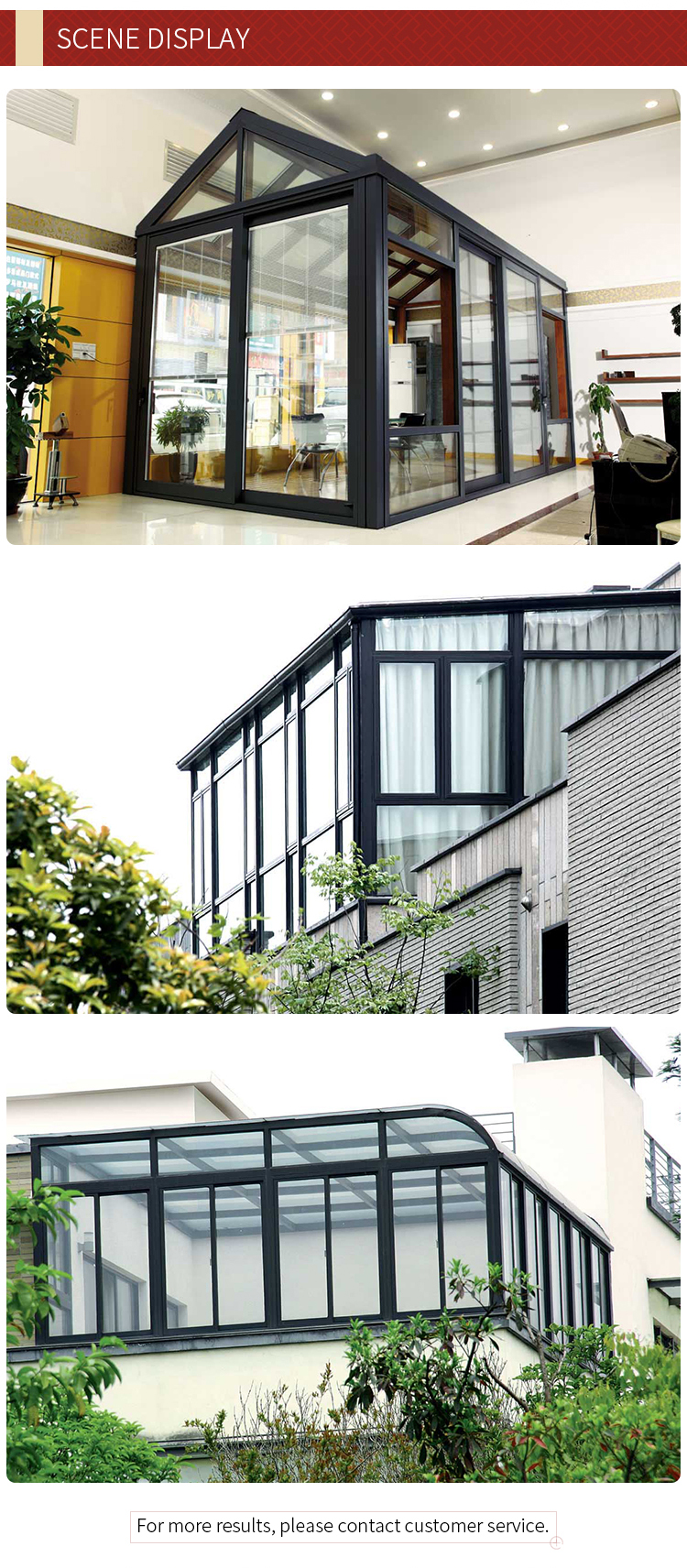 customized high quality standard sunrooms aluminum frame glass house