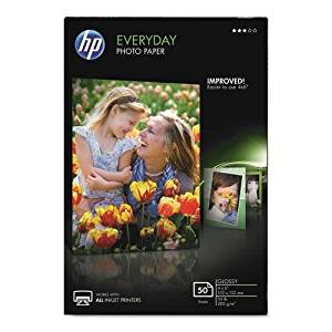 HEWLETT PACKARD CR758A Everyday Glossy Photo Paper, 53 lbs., 4 x 6, 50 Sheets/Pack