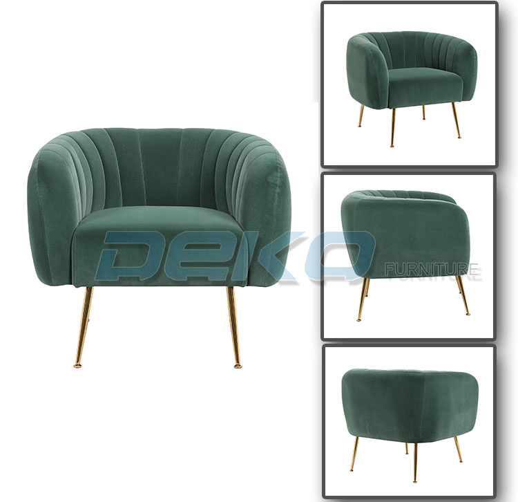 Velvet fabric Armchair with gold Metal Legs for Living Room or hotel