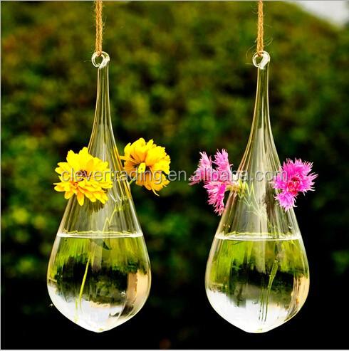 haute borosilicate goutte d 39 eau forme terrarium en verre suspendu vase en verre vases en verre. Black Bedroom Furniture Sets. Home Design Ideas