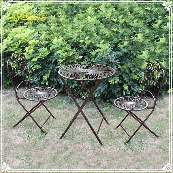 Antigo ferro fundido mesa dobr vel e cadeira conjunto for Mobiliario de patio