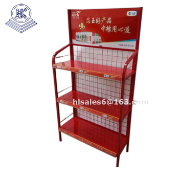 Custom Logo Printing Metal Floor Display Shelves Used Candy