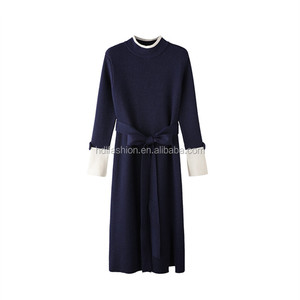 Nice modern design knitting type lady slim fit side slit long dress elegant