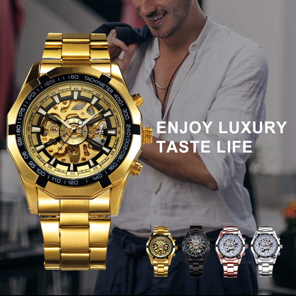 Winner Watch Men Skeleton Automatic Mechanical Watches Gold Skeleton Vintage Man wristwatch Mens Watch Top Brand Luxury фото
