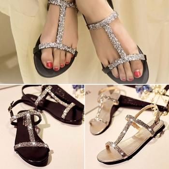 9dac1b6ca3f2f Summer Women Diamond Flat Shoes Sparkling Thong Lady Beach Sandal Silver  Black