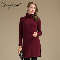 High Quality Clothing Wool Blend Handmade Pullover Women Knitted Sweater High Neck Dress