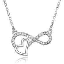 POLIVA Best Seller 925 Sterling Silver AAA Cubic 지르코니아 Forever Love Infinity Heart 펜 던 트 Necklace