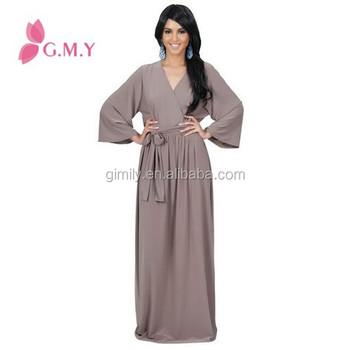 Latest Design V Neck Long Sleeve Maxi Dress Plus Size Muslim Women Clothing  - Buy Muslim Long Sleeve Maxi Dress,Latest Design Muslim Dress,Plus Size ...