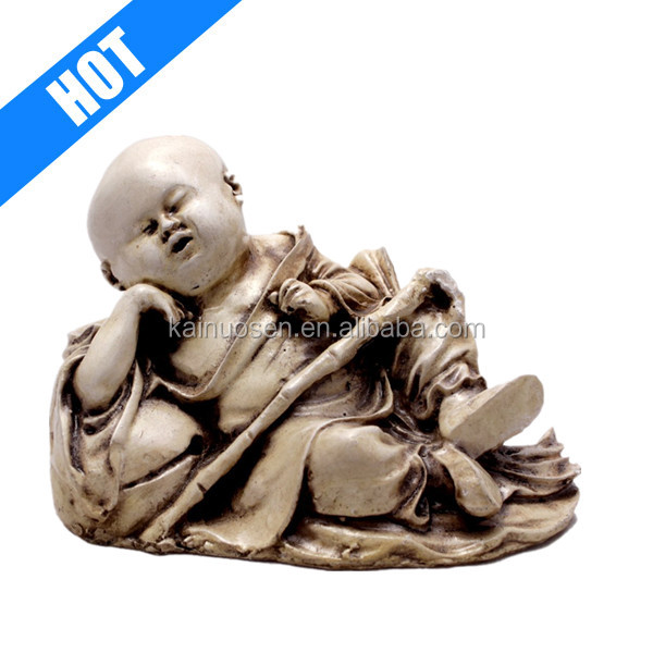 Hand Carved Baby Sleeping Buddha Resin Idol Sculpture Statue 2.8 Inches