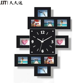 Home Decor Wall Clock With Multi Photo Frame Black White Buy Wall
