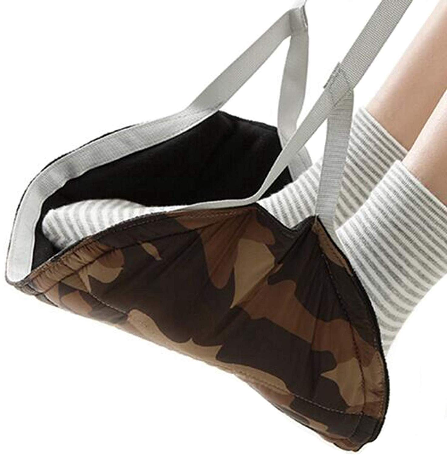 Travel Airplane Portable Foot Rest,Fukalu Feet Hammock Swing and Hang Feet [Preventing Leg Swelling] Plane Footrest, Adjustable Height Portable Travel Foot Rest for Airplane Office (Camo Coffee)