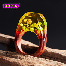 Oem welcome wood finger ring, wood ring resin