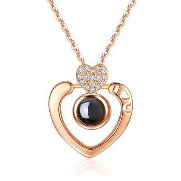 Fashion Jewelry 100 Languages I Love You Heart Love Projected Stainless Steel Pendant Necklace