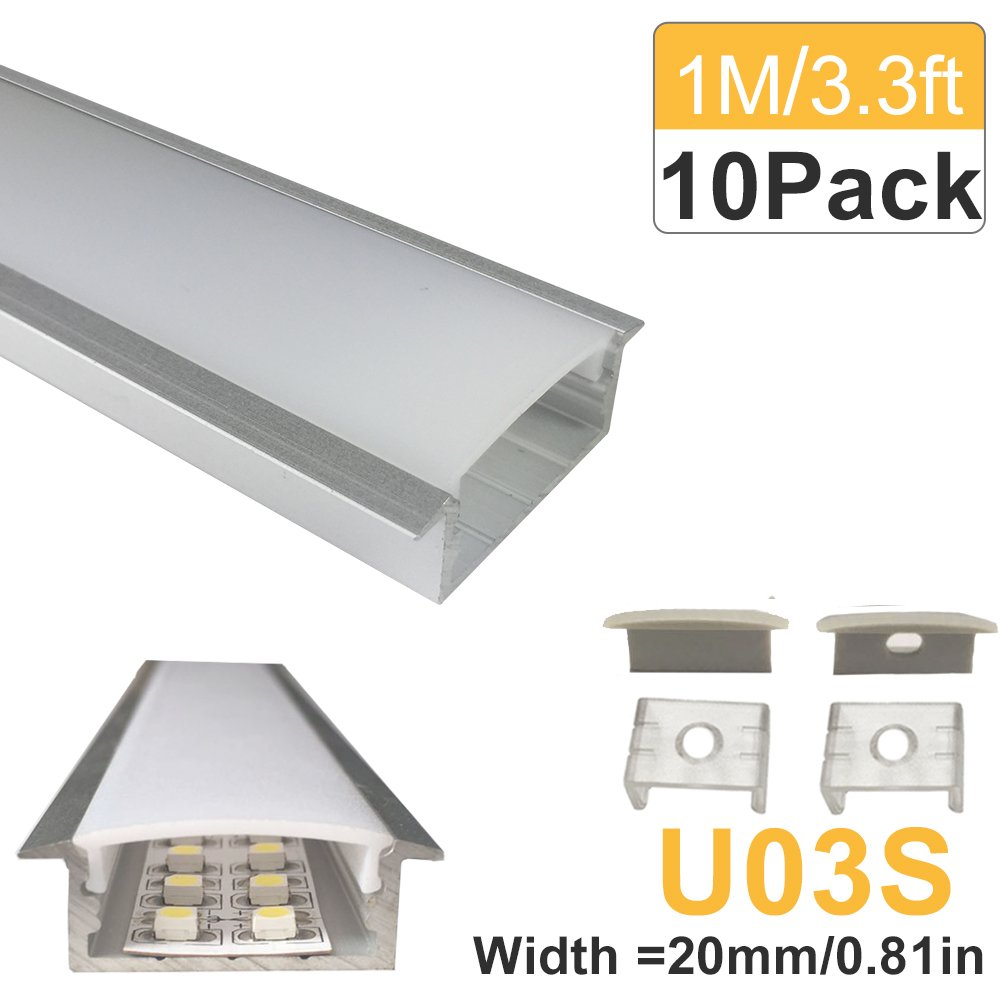 LightingWill 10-Pack 3.3ft/1M 10x30mm Silver U-Shape Internal Width 20mm LED Aluminum Channel System with Cover, End Caps and Mounting Clips Aluminum Profile for LED Strip Light Installations
