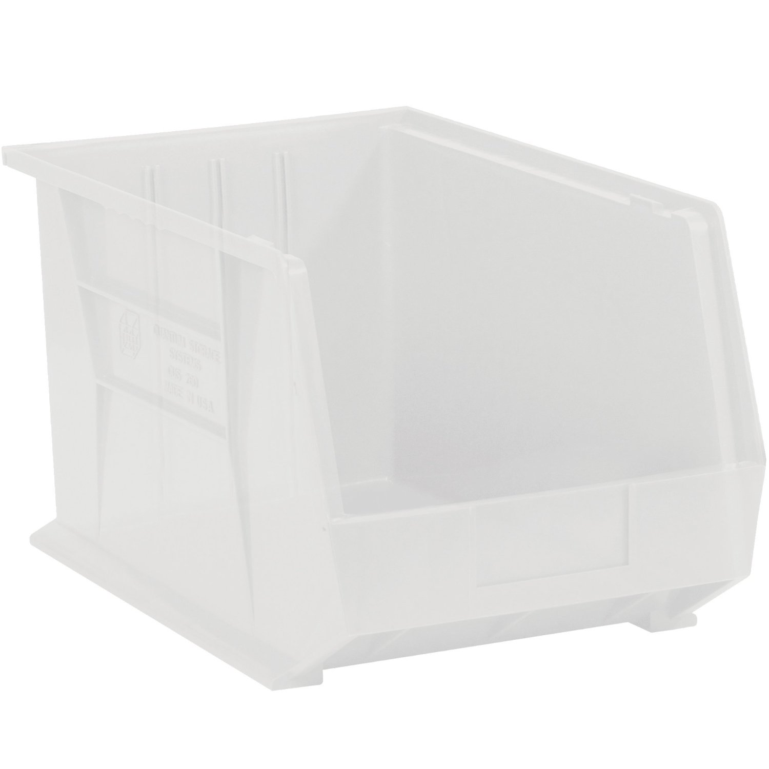 "Aviditi BINP1811CL Plastic Stack and Hang Bin Boxes, 18"" x 11"" x 10"", Clear (Pack of 4)"