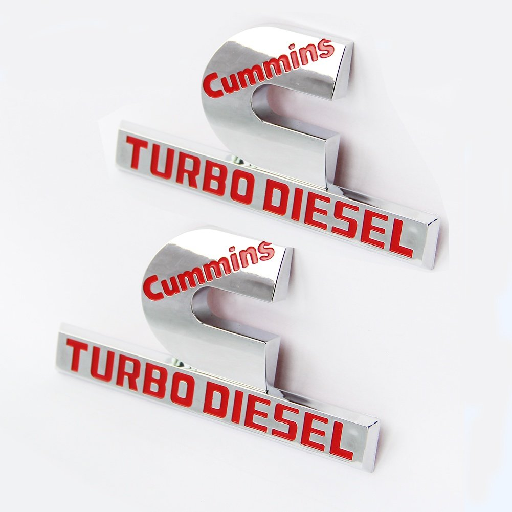 Yoaoo 2x OEM Red Dodge Cummins Turbo Diesel Emblem Badges High Output for RAM 2500 3500 Fender Emblem Mopar Glossy Chrome