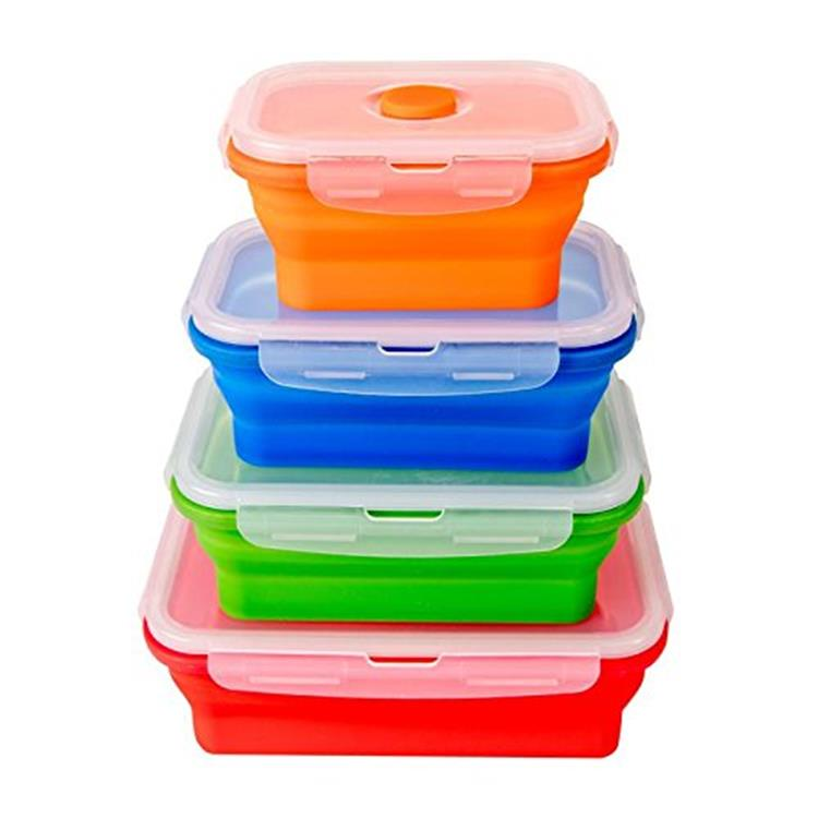 4 stks in een set opvouwbare siliconen folding lunch box/container