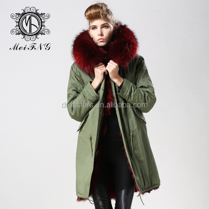 Ladies Long Style Military Parka 2017 Luxury Fur Parka Real Fox ...